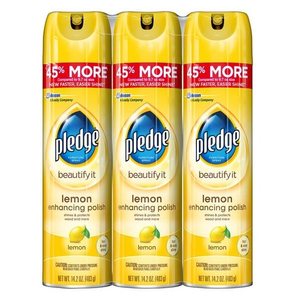 Pledge Lemon Enhancing Polish Spray, 3..