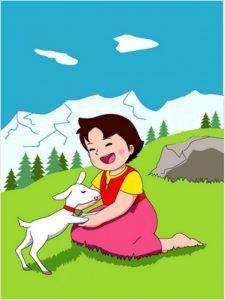 [cml_meya_alt itz='261']Fotograma d'a serie Heidi, basada en a novela de mesmo nombre, que narra as vivencias d'una nina y o suyo bestiar de crabas en una zona montanyosa con arbolau, roquedals y fuertes pendients. Hue no podría existir por a fuerte dependencia d'a ganadería a las subvencions, y tractar-se d'una zona que no cobraría a PAC[/cml_meya_alt]