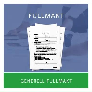 Mall för Fullmakt - generell fullmakt