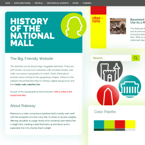 One of four mood boards created by the web designer, not selected by the team.