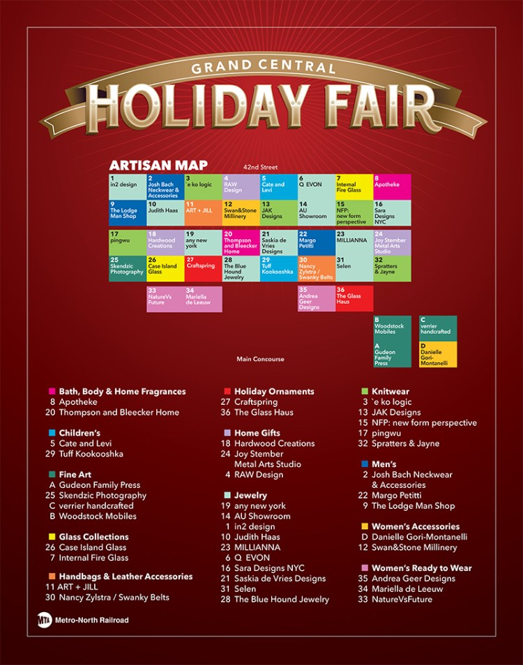 Grand Central Holiday Fair Map