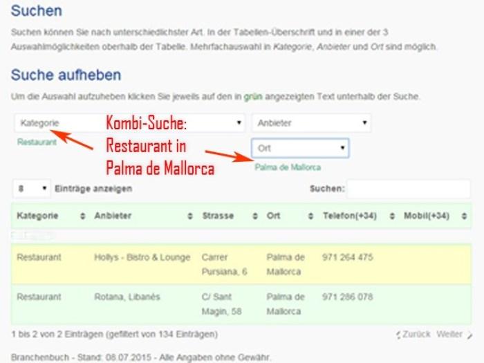 Kombi-Suche Tabelle