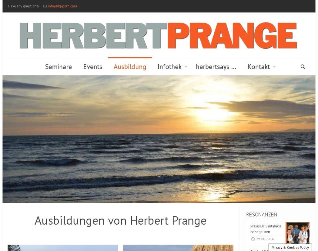 Herbert Prange Entwicklung der CI, Grafik & Layout für Online www.herbertprange.com