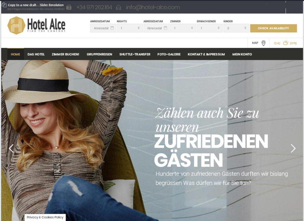 Hotellerie Management Alce S.L. Entwicklung der CI, Grafik & Layout für Online www.hotelalce.eu