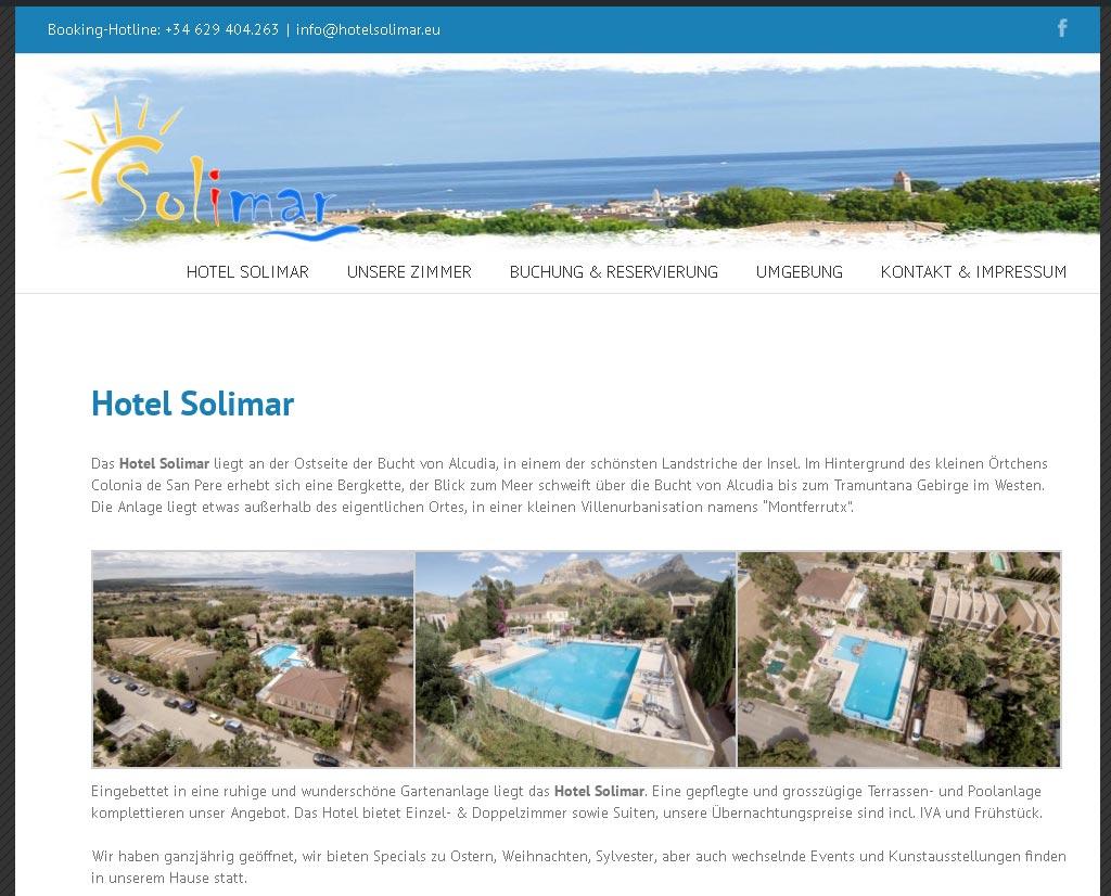 Hotel Solimar Entwicklung der CI, Grafik & Layout für Online www.hotelsolimar.es