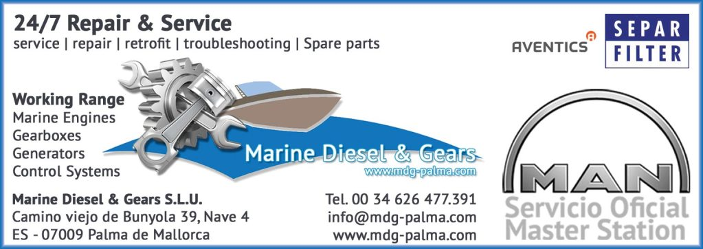 Marine Diesel & Gears Entwicklung der CI, Grafik & Layout für Printwerbung www.mdg-palma.com