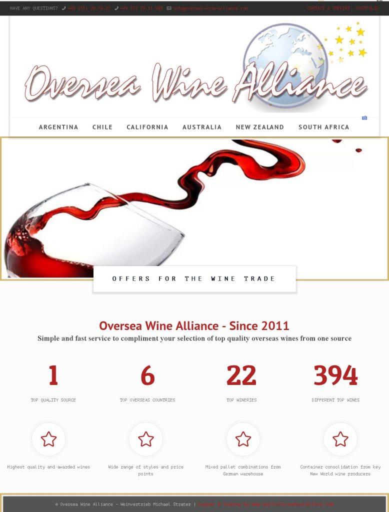 Oversea Wine Alliance Entwicklung der CI, Grafik & Layout für Online www.oversea-wine-alliance.com