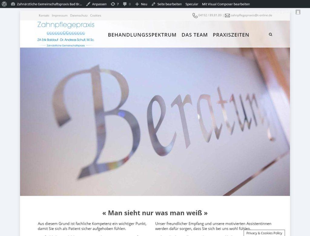 Zahnpflegepraxis Bad BramstedtProgrammierung, Grafik, Layout: Websitewww.zahnpflegepraxis.com