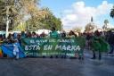 Varios manifestantes en Plaza España