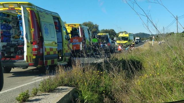 accidente en Capdepera 9 ciclistas atropellados 1