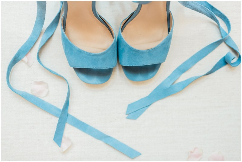 Blue wedding shoes for the bride