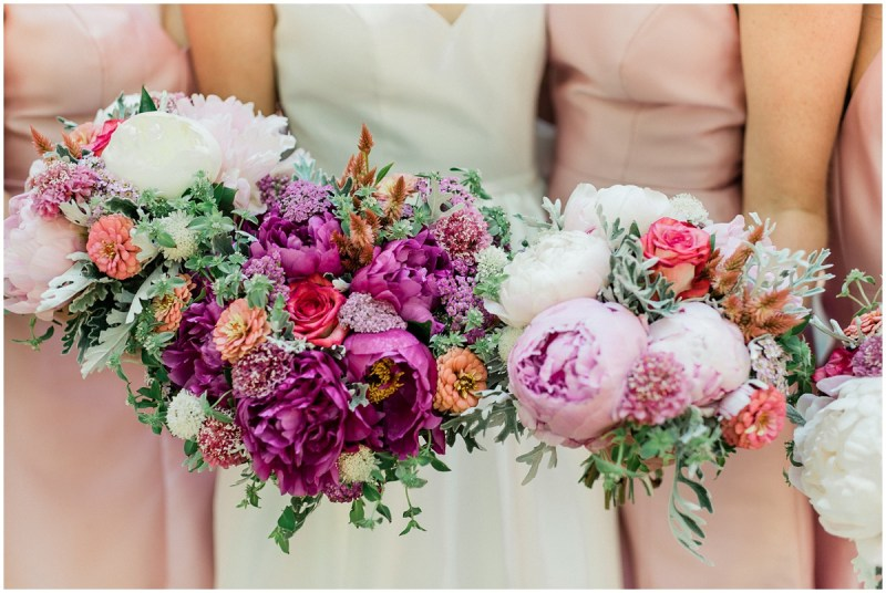 Bright colorful pink wedding bouquets