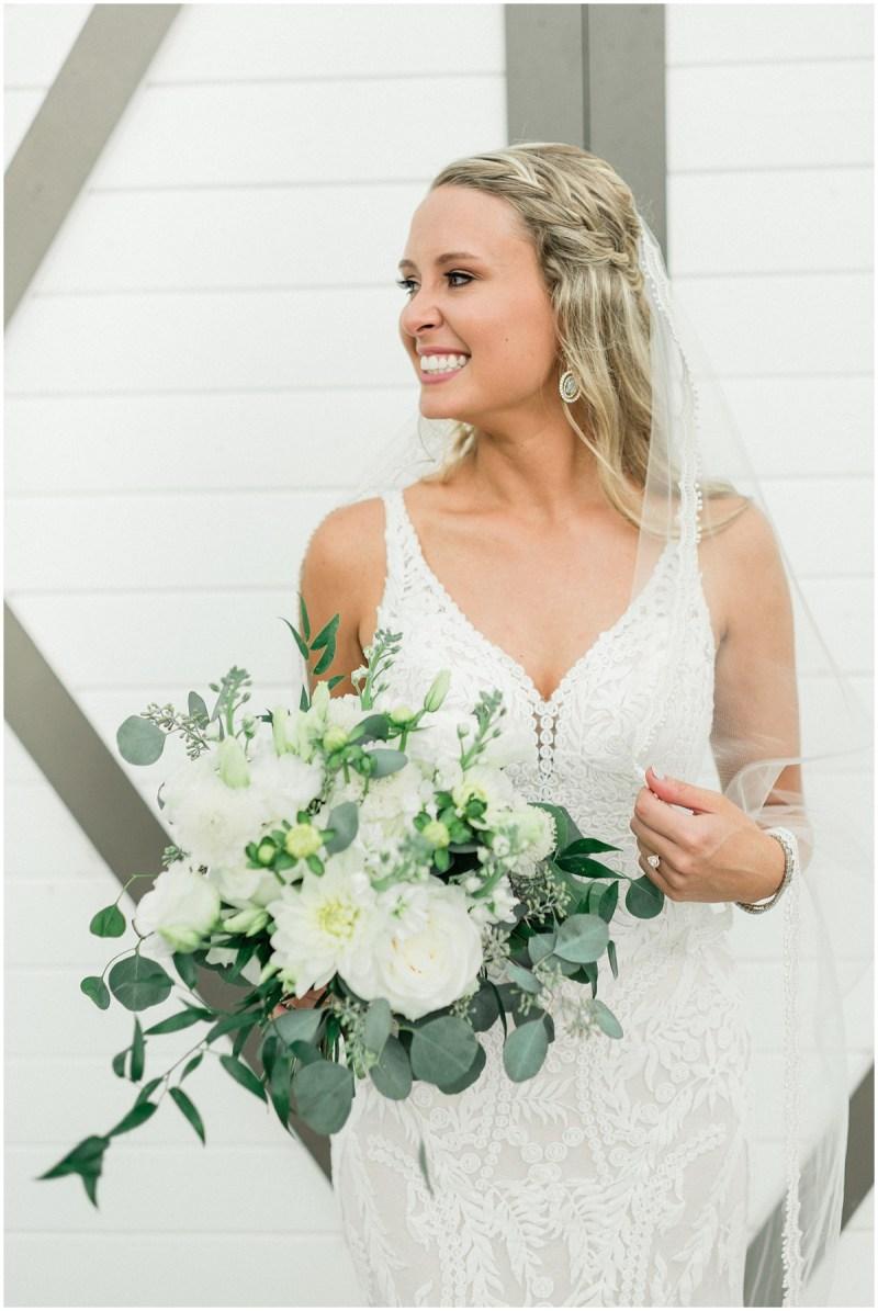 Bridal Portrait with white bouquet and eucalyptus