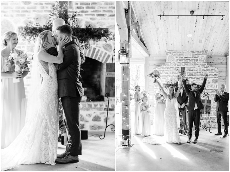Black and white wedding ceremony photos