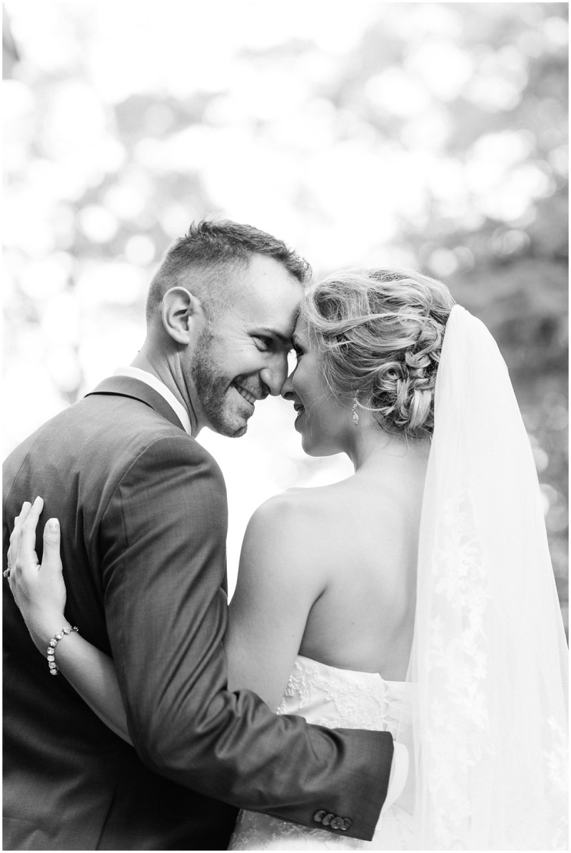 Black and white bride and groom close up