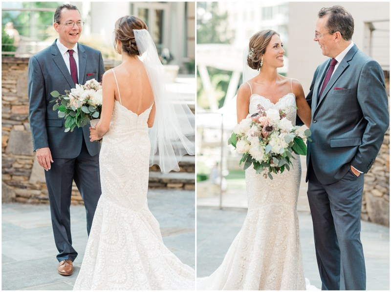 Father daughter first look in downtown Greenville