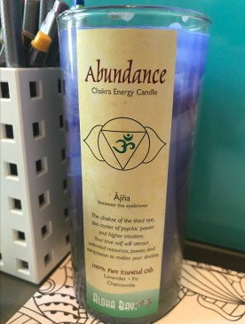 purple abundance chakra energy candle