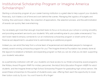 blog graphic: institutional scholarship program or Imagine America Scholarships?