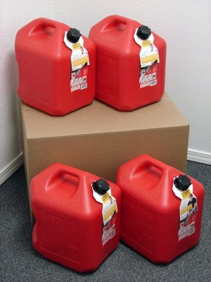5 Gallon Gas Can, 4 Pack, Spill Proof Fuel Container - New! - Clean! - Boxed!