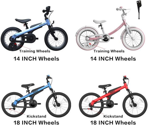 Segway Ninebot Kids Bike for Boys and Girls, 14 inch with Training Wheels, 14 18 inch with Kickstand, Pink Blue Red