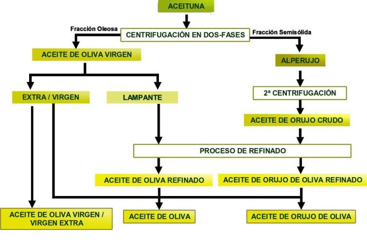 Esquema de la obtención de los distintos tipos de aceite de oliva mediante el sistema de centrifugación de dos fases. Elaboración propia.