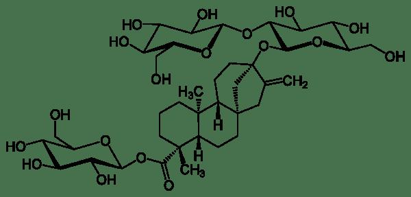 Estructura molecular del esteviósido (glucósido de esteviol).