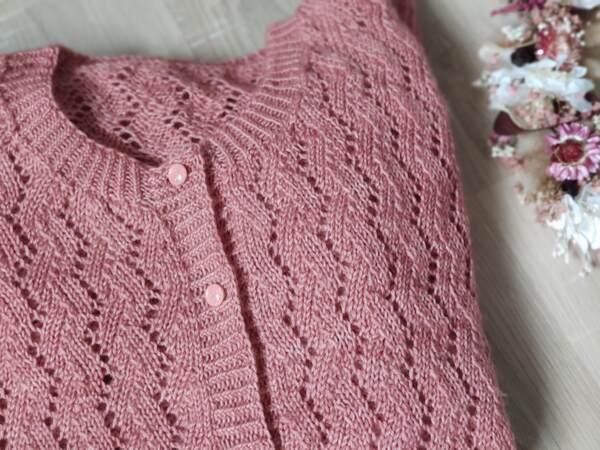 Albizia, un gilet délicat en dentelle au tricot