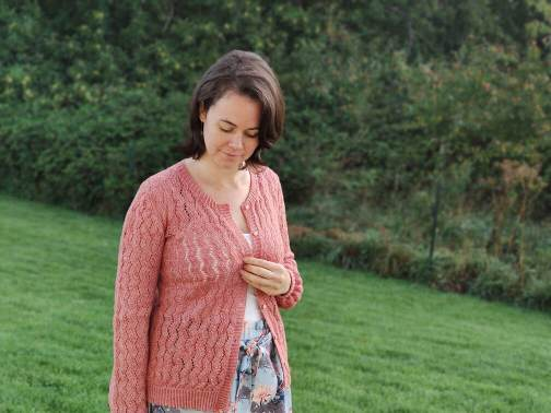 Albizia- gilet en dentelle pour femme au tricot
