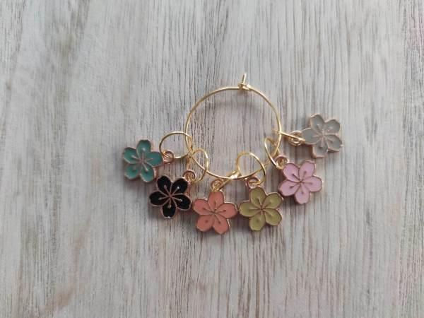 Lot anneaux marqueurs tricot - Fleurs - Maloraé Designs