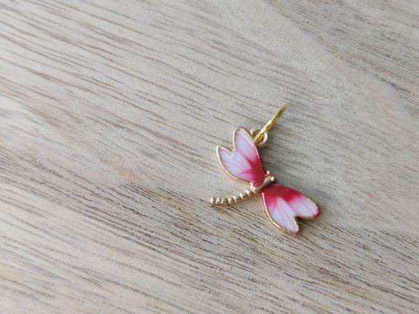 Anneaux marqueurs tricot - Libellule rose - Accessoires tricot - Maloraé Designs