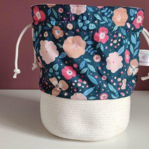 Panier projet tricot - Taille M - Fleurs bleues - Maloraé Design