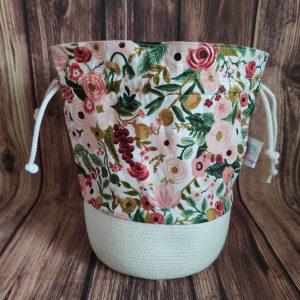 Panier projet tricot - Garden party rose- Taille M - Maloraé Designs