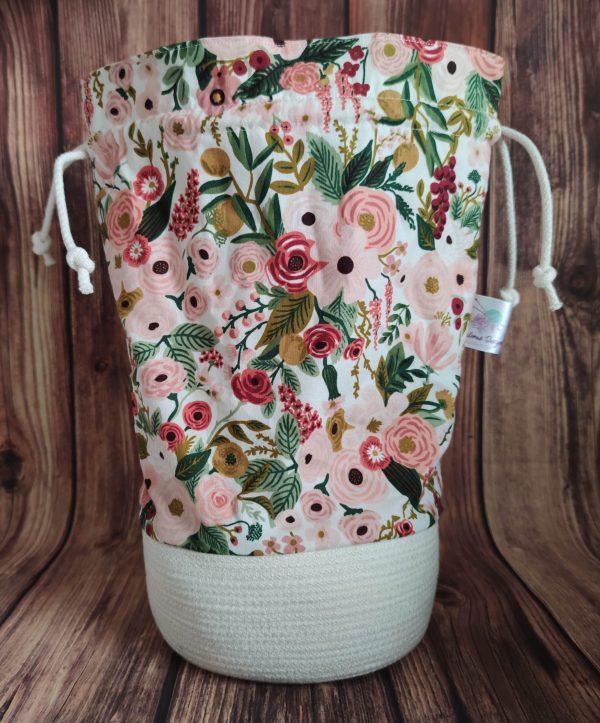 Panier projet tricot - Garden party rose- Taille L - Maloraé Designs