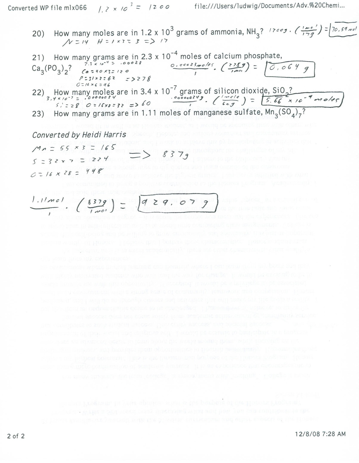 More Mole Calculations Worksheet