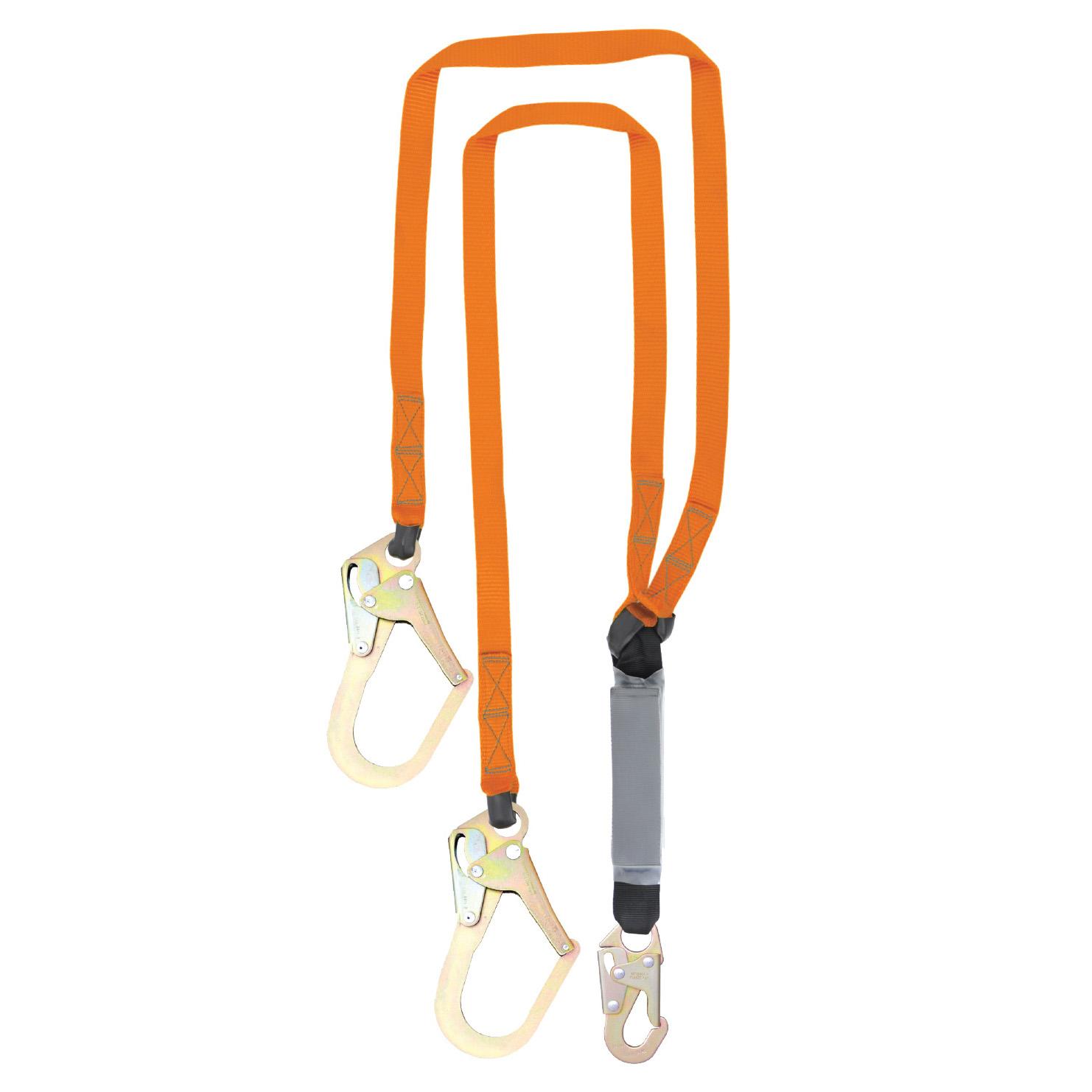 C5015-6/' Single Leg Internal Shock Absorbing Lanyard with 1 Rebar Hook and 1 Steel Snap Hook OSHA//ANSI Compliant