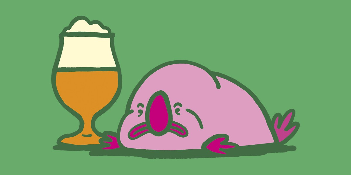 An illustration of a blobfish, drinking a beer.