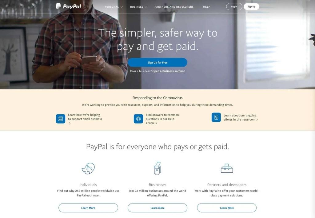 PayPal Website Homepage