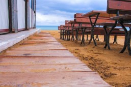A wooden walkway in Golden Bay Ir-Ramla tal Mixquqa, Malta.