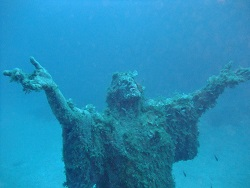 Christ Statue next to Imperial Eagle wreck Malta