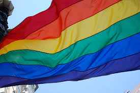 a rainbow coloured flag, considered a symbol of peace and LGBT rights