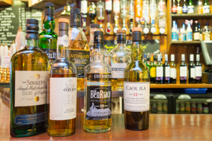 Drinks - photo of whiskies at the Malt Shovel Tavern