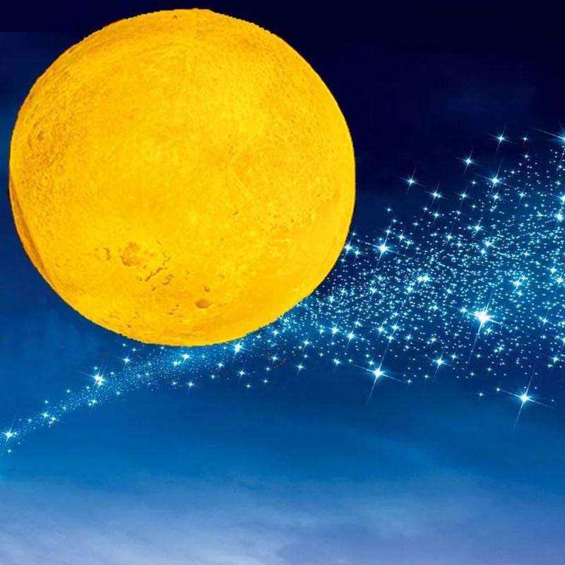 Luminaria Luna - Led 3d Lua Cheia Usb - Abajur Lua Recarregável - Ajuste De Cores E Intensidade - Frete Gratuito