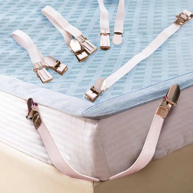 Prendedor de metal cromado para cama de 4 pçs/set, para cama, lençol, colchão