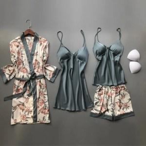 Pijamas de Seda Floral - Verde Escuro