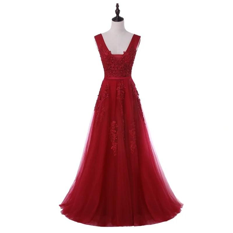 Vestido de Festa Com Decote em V Com Renda - Rosa - M