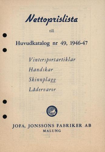 JOFA_Huvudkatalog 1946-47 nettoprislista 0341