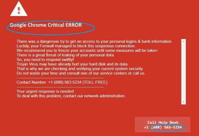 Google Chrome Critical Error Scam
