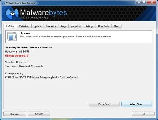 [Image: Malwarebytes Anti-Malware scanning for Luhe.Sirefef.A