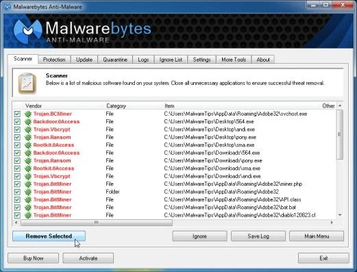 [Image: Malwarebytes Anti-Malwar removing Police Ukash or Moneypak virus]