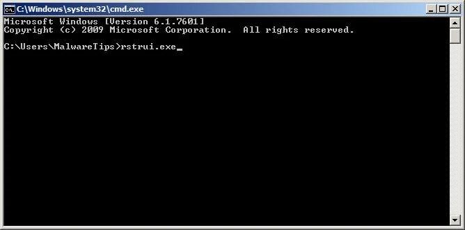 [Image: Start System Restore to remove lock screen virus]
